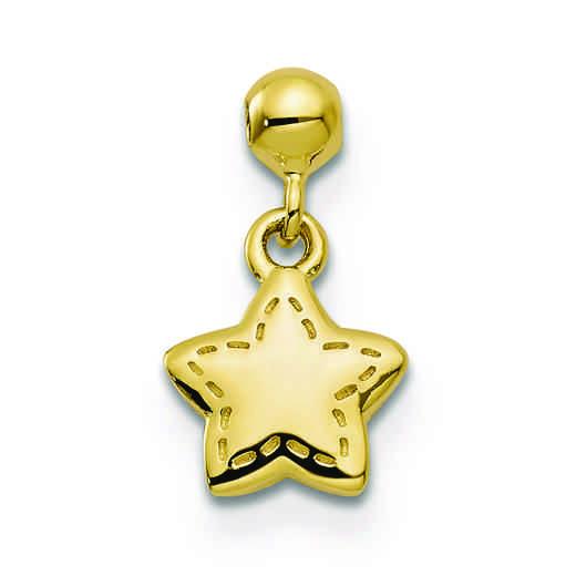 QMM173: 925 Mio Memento Gold Tone Dangle Star Charm