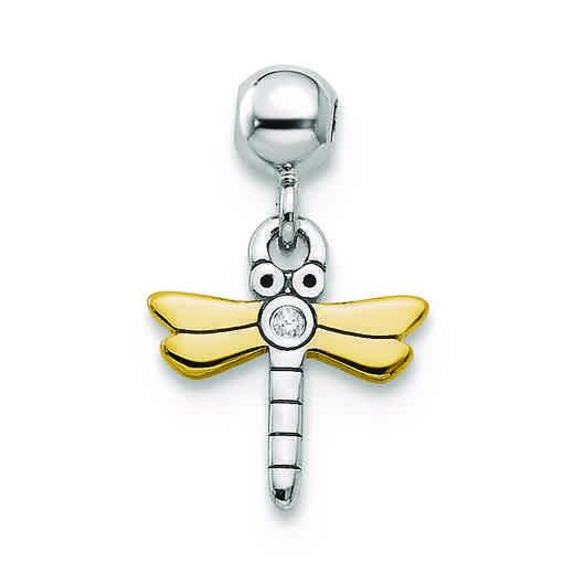 QMM114: SterlingSilver MioMemento YLW RH PLT CZ Dragonfly Charm