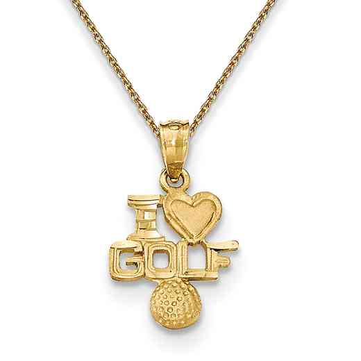 K5441/PEN136-18: 14k YG Satin & D/C I Heart Golf Pendant