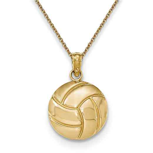 K5433/PEN136-18: 14k YG Gold Polished Volleyball Pendant