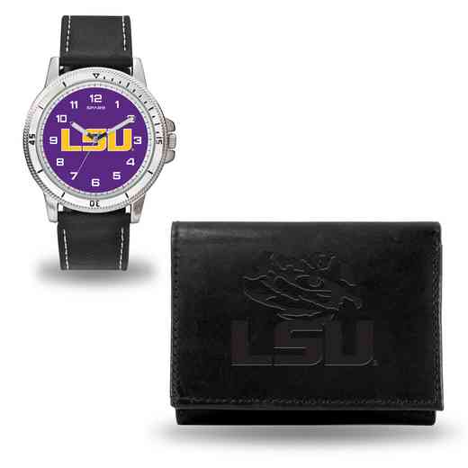 WTWAWA170101: LSU Tigers Black Watch and Wallet Set