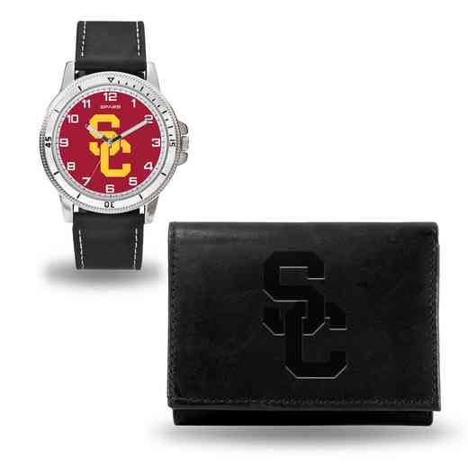 WTWAWA290101: Southern California Trojans Black Watch and Wallet Set