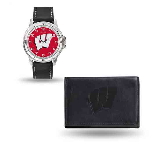 WTWAWA450106: Winsconsin Badgers Black Watch and Wallet Set
