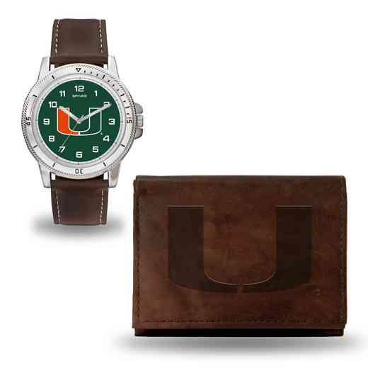 WTWAWB100301: Miami Hurricanes Brown Watch and Wallet