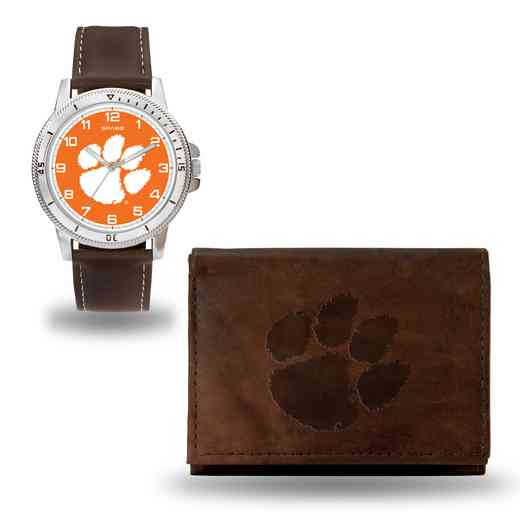 WTWAWB120206: Clemson Tigers Brown Watch and Wallet