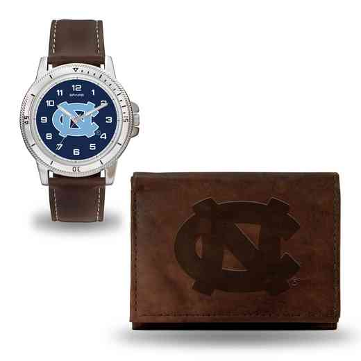 WTWAWB130102: North Carolina Tar Heels Brown Watch and Wallet