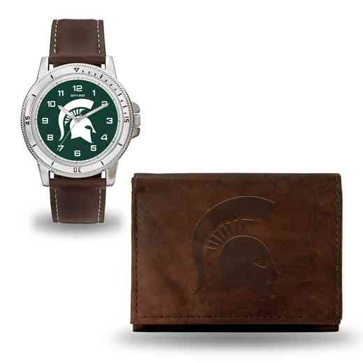 WTWAWB220102: Michigan State Spartans Brown Watch and Wallet