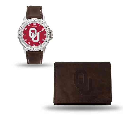 WTWAWB230201: Oklahoma Sooners Brown Watch and Wallet