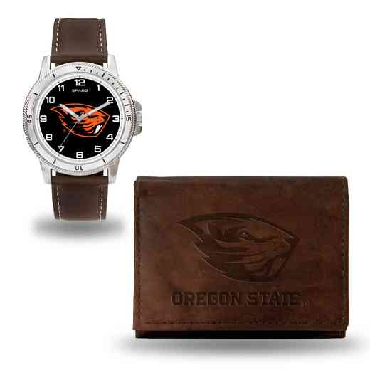 WTWAWB510306: Oregon State Beavers Brown Watch and Wallet