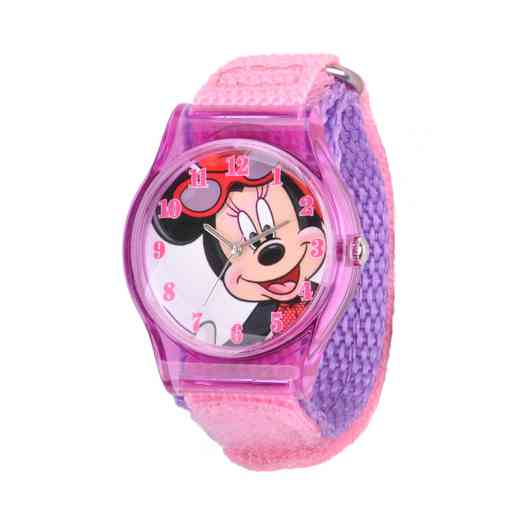 W001268: Plastic Disney Girls Minnie Purple Watch PnkNylon Strap