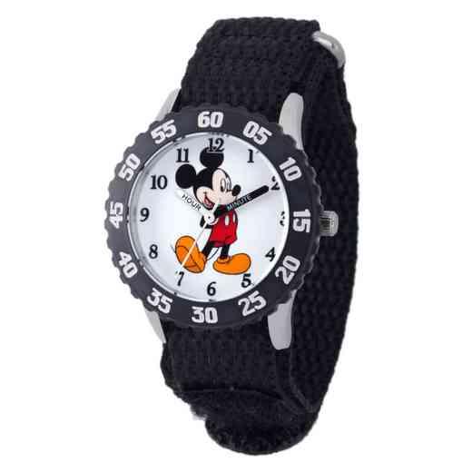 W001574: STNLSSTL Disney Boys Mickey Watch Blk Nylon Strap