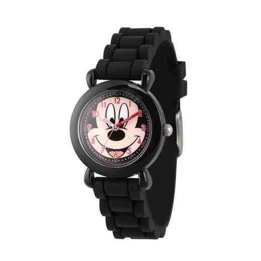 WDS000014: Plastic Dis Boys Happy Face Mickey Blk Watch SilStrap