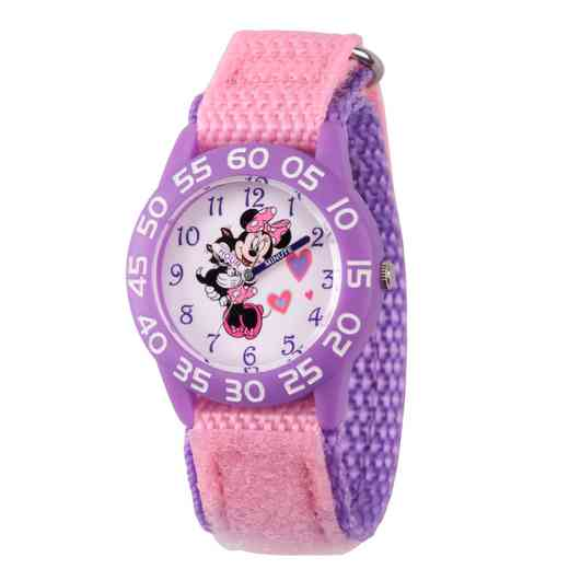 WDS000165: Plastic Disney Gir InLove Minnie Pnk/Pur Watch Ny Strap