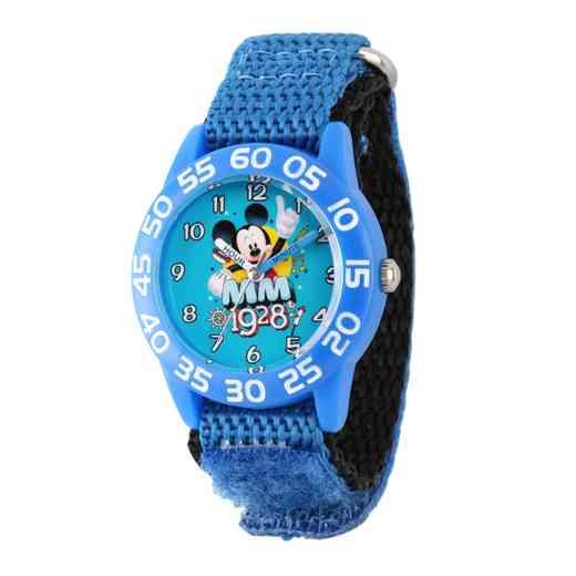 WDS000218: Plastic Disney Boys 1928 Mickey Blu/blk Watch Ny Strap