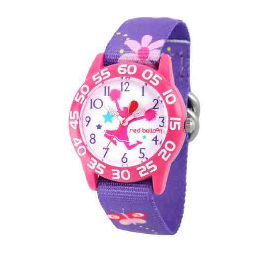 WRB000049: Plstc Red Balloon Girls Cheer Nylon Pnk/Purp Flwr Watch