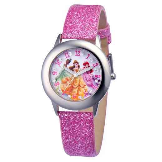 W000408: STNLS STL Gir Dis Prn Pink Glitter Watch Leather Strap