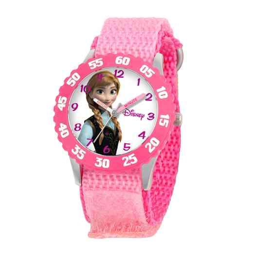 W000968: STNLS STL Gir Dis Frozen Anna Watch Pink Nylon Strap