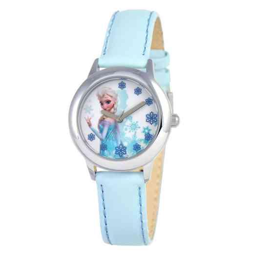 W000971: STNLS STL Girls Dis Frzn Elsa Watch Lht Blue Lea Strap