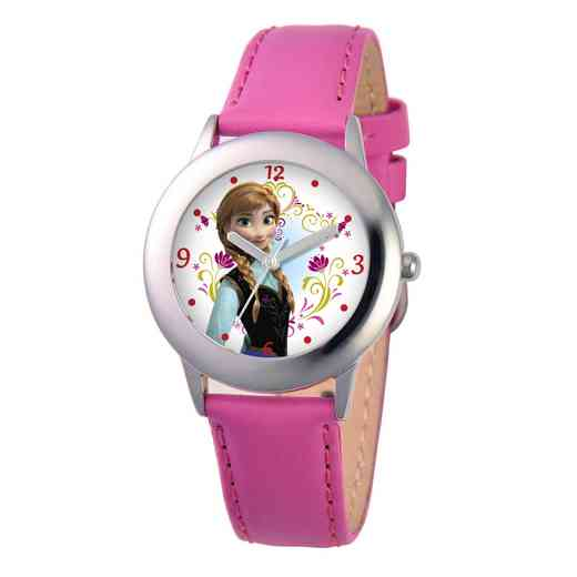 W000974: STNLSSTL Girls Disney Anna Watch Peach Leather Strap