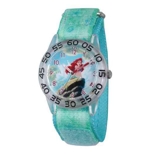 W002910: Plastic Girls DisneyAriel Clear Green Watch Nylon Strap