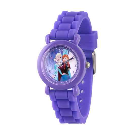 WDS000226: Plastic Girls Dis Frozen Elsa Anna Watch Purp Sil Strap