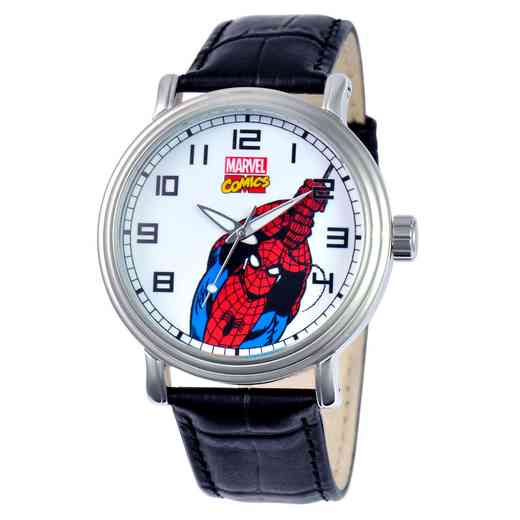 W000532: Silver Alloy SpiderM Mens Vintg Watch Blk Leather Strap