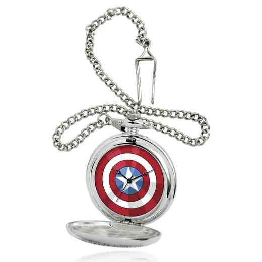W001744: Silver Alloy Captain America Sheild Men's Pocket Watch