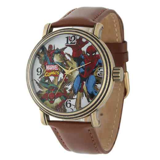 W001761: Gold Antq Alloy Spider-Man Mens Vintage Watch