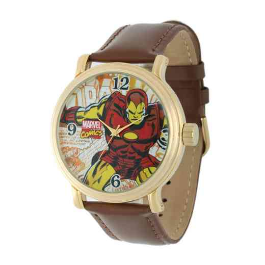 W001765: Gold Vntg Alloy Marvel Iron Man Mens Brown Leather Strap