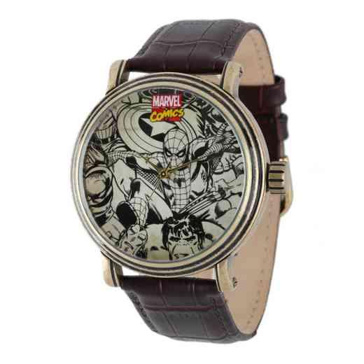 W001768: GldAntqAlloy Marvel Character Watch BrnCroco Lea Strap
