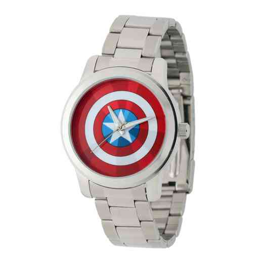 W001780: Silver Alloy Capt Amer Watch Silver StnSteel Brac