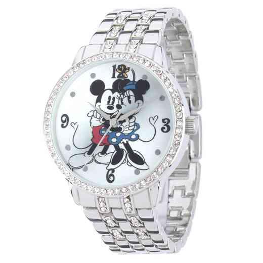 W001832: Silver Alloy Minnie Mickey Womens Watch With Glitz