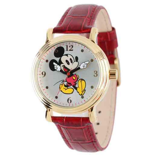 W001870: YG Vintg Alloy Mickey Womens Watch Red Lea Strap