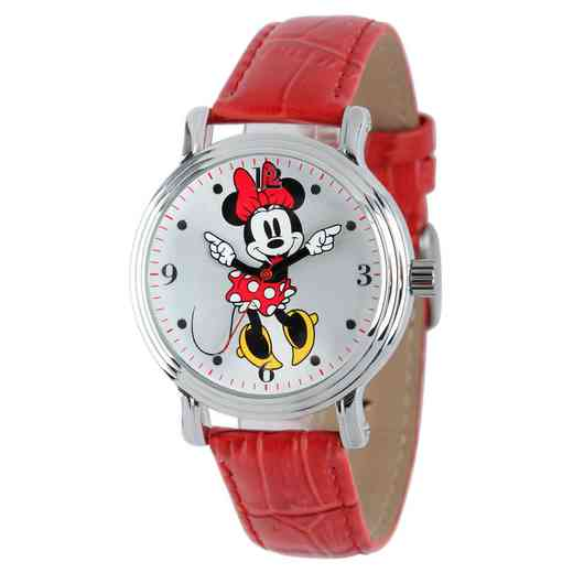 W001877: SIL Vintg Alloy Minnie Womens Watch Red Leat Strap