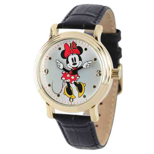 W001879: YG Vintg Alloy Minnie Womens Watch Blk Lea Strap