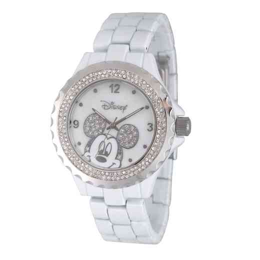 WDS000078: White Alloy Disney Mickey Women's Wh Enam Sparkle Watch