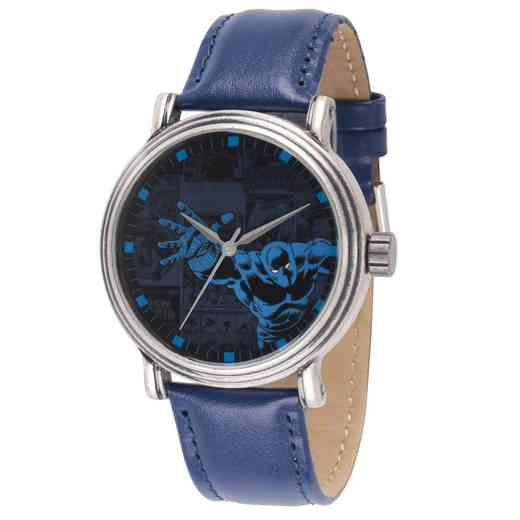 WMA000195: Sil Alloy Marvel Blk Pnthr Mens Antq Watch Blu LeaStrap