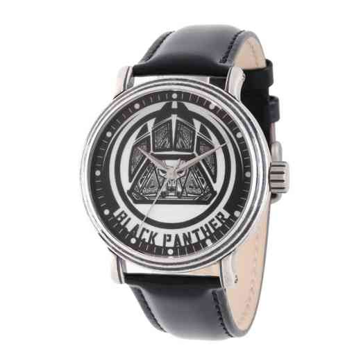 WMA000202: SilAlloy Aveng Blk Pnthr Mens Antq Watch Blk Lea Strap