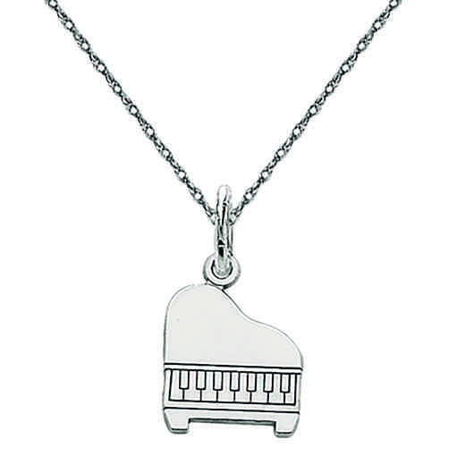 D1258/5RW-18: 14k WG Solid Polished Baby Grand Piano Charm