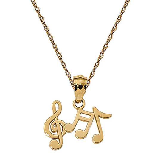K6135/5RY-18: 14k YG Polished Music Notes Pendant
