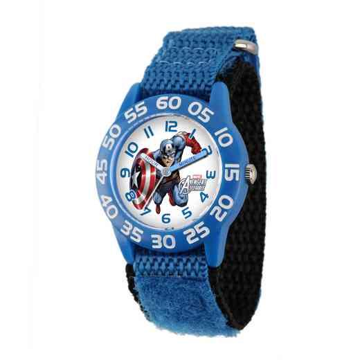 W001726: Plastic Marvel Boys Flying CaptnAmer Watch Blu Ny Strap