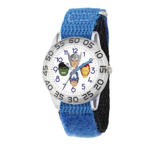W003239: Plastic Mvl Boys HulkIronThor Clear Watch Blu Ny Strap