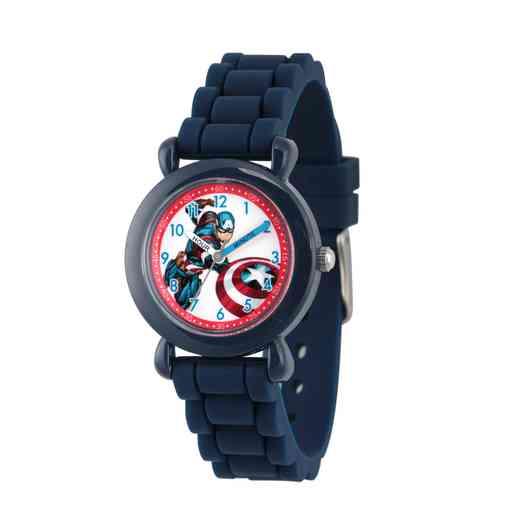 WMA000028: Plastic Marvel Boys CptnAm InBattle Watch Blu Sil Strap