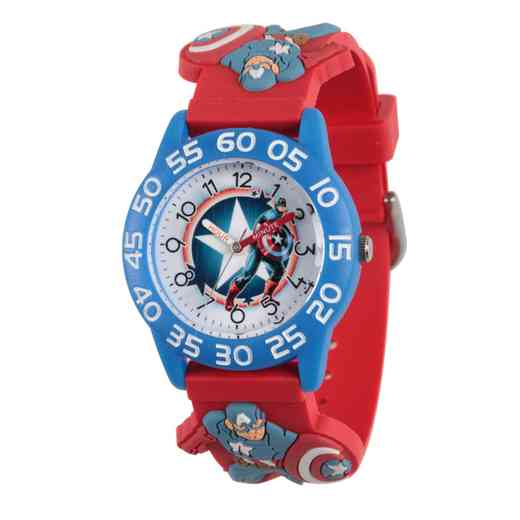 WMA000039: Plastic Marvel Boys CptAm Star Watch Red 3D Strap