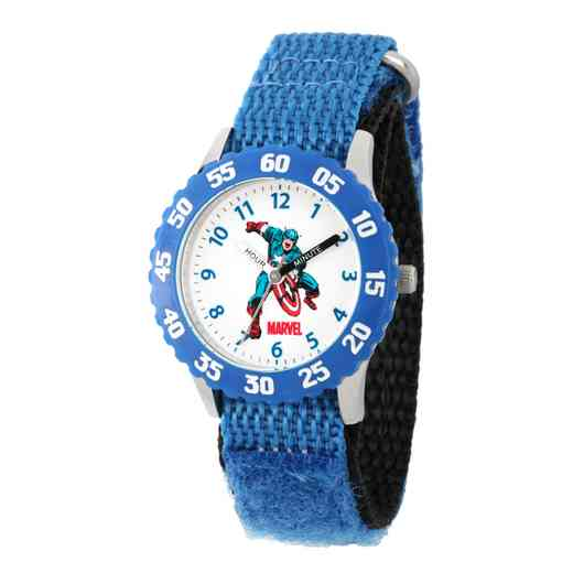 WMA000045: STNLS STL Marvel Boys CptAmr Charging Watch Blue Ny Strp