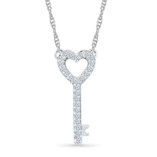NQ200741BAW: DIA ACCNT HEART LOCK NECKLACE
