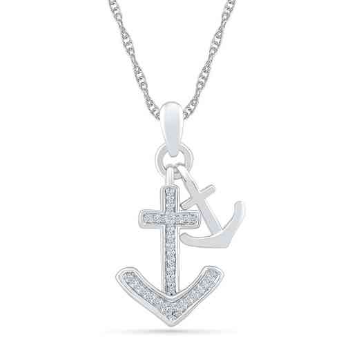 PQ079439BAW: 925 1/10CTTW DIA DANGLE ANCHOR NECKLACE