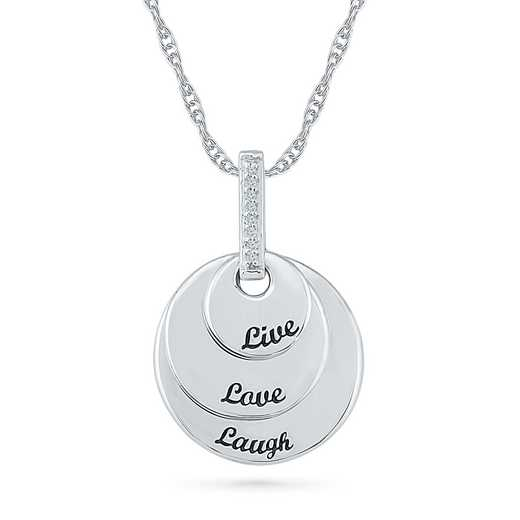 PW078925AAW: 925 DIA ACCNT LIVE LAUGH LOVE CIRCLE NECKLACE