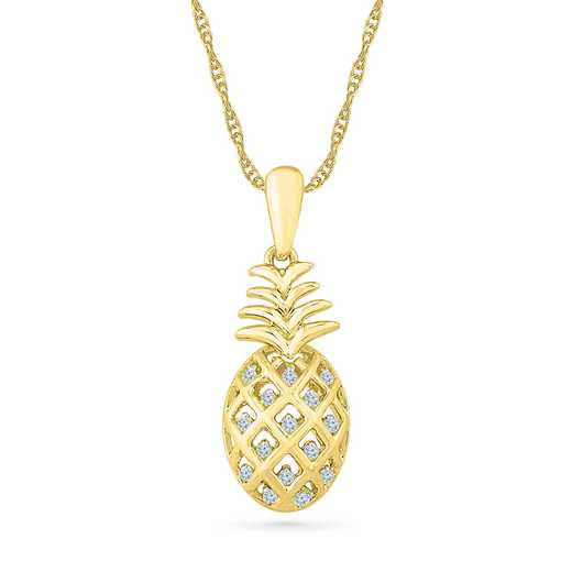PF079298BAY: 925/14KYGP DIA ACCNT FUN PINEAPPLE NECKLACE