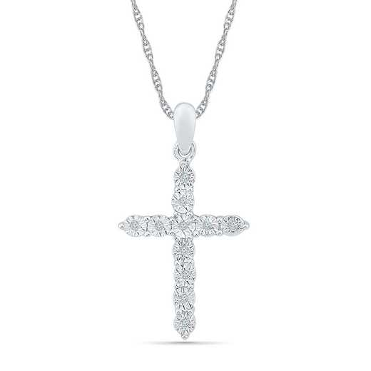 PC126852AAW: 925 DIA ACCNT BASIC CROSS NECKLACE